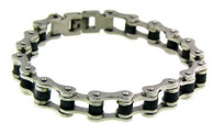 "Stainless Steel & Black Bracelet  Available in Sizes:   7. - 10""   Highly polished stainless steel bike chain bracelet with black detailing.   Approx. Weight: 35.9 grams"
