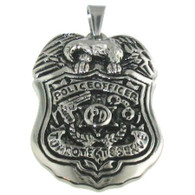 Stainless Steel Police Officer Pendant Includes Steel Ball Chain