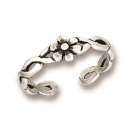 Sterling Silver Flower with Weave Toe Ring Adjustable  Face Height: 5 mm (0.20 inch) Metal Material: Sterling Silver