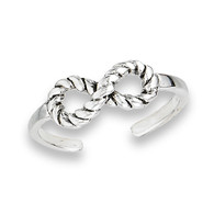 Sterling Silver Infinity Rope Toe Ring adjustable   Face Height: 13 mm (0.51 inch) Metal Material: Sterling Silver