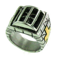 Stainless steel skull ring in a Cage Available Sizes 8-16