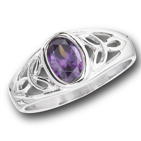 Face Height: 8 mm (0.31 inch) Stone: Lavender Cz Metal Material: Stainless Steel