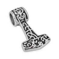 Stainless Steel Thor's Hammer Pendant Includes Stainless Steel Rope Chain Pendant Size 30mm x 49mm   Choice of Chain Length 20 or 24 Inches High Polish Finish 316L Stainless Steel
