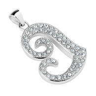 Gem Paved Hollow Heart Stainless Steel Pendant Includes Stainless Steel Rope Chain Choice of Stainless Steel Rope Chain  18 ,20 or 24 inches Pendant size 1.77 inches 316 Stainless Steel