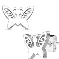 Butterfly Stainless Steel Stud Earrings 0.08mm