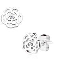 Rose Blossom with Crystal 316L Stainless Steel Earring Studs Pair 0.08 mm