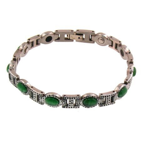 Green Stone  Stainless Steel  Magnetic Bracelet  with Germanium