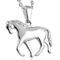 Stainless Steel Walking Horse Charm Pendant