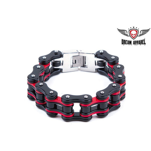 Black & Red Stainless Steel Motorcycle Chain Bracelet  Heavy Duty Black and Red Stainless Steel Motorcycle Chain Bracelet Approximate 3/4 inches wide M 8 3/4 , L 9 3/4