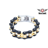 Black & Gold Stainless Steel Motorcycle Chain Bracelet Heavy Duty Black & Gold Stainless Steel Motorcycle Chain Bracelet Approximate 3/4 inches wide M 8 3/4 , L 9 3/4