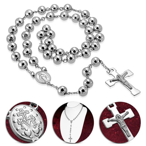 316l LARGE STAINLESS STEEL ROSARY  SOLID STAINLESS STEEL 30'