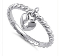 Sterling Silver Key To My heart Charm Ring