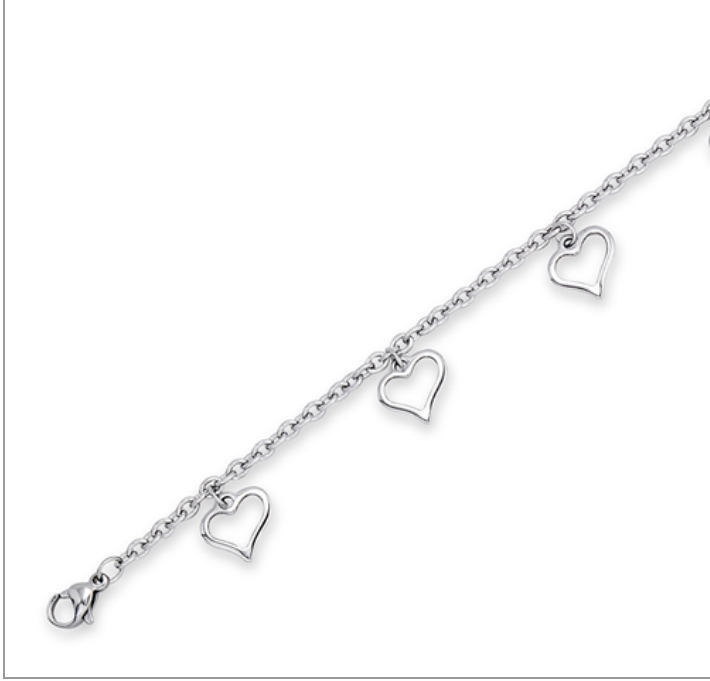 3402fc5d2dc9c Stainless steel dangling heart anklet