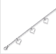 Stainless Steel Dangling Heart Anklet