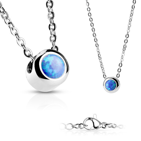 Stainless steel blue opal chain