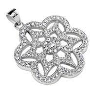 Stainless steel fancy snowflake pendant includes stainless steel chain.
