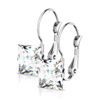 Stainless Steel Lever Back Earrings Cz
