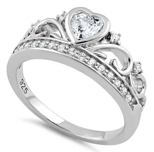 Sterling silver heart princess crown ring