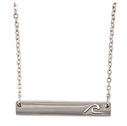 Stainless steel wave bar necklace.