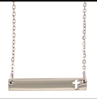 Stainless Steel Cross Bar Necklace