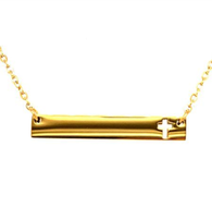 Stainless Steel Gold Plated Cross Necklace