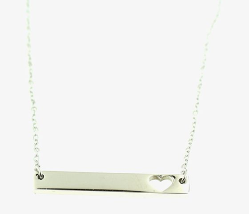 Stainless steel heart bar necklace