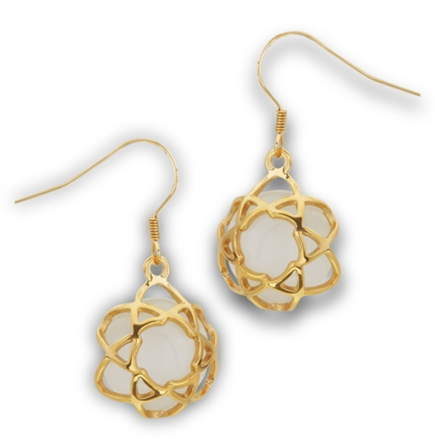 Stainless steel Gold plated with Synthetic white cats earrings