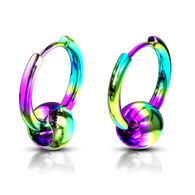 Rainbow 316L  Pair of Captive Ball 316L Stainless Steel Hinge Action Seamless Hoop Earrings