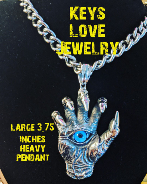 Stainless steel all seeing eye in hand pendant and chain