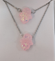 Stainless Steel Chain with Pink Resin Hamsa Hand And matching Bracelet