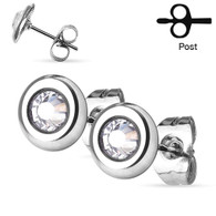 Stainless steel Cz Stud Earrings  5mm 316L Surgical steel Hypoallergenic Tarnish Free Nickel Free