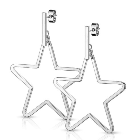 Stainless steel Hanging Star Post Earrings Light weight About 2.5 inches Hypoallergenic Tarnish Free Nickel Free