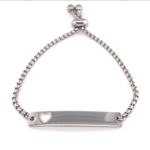 """Adjustable Stainless Steel Bar Bracelet with Heart Cutout with Silicon Bead Cinch. Adjustable up to 8""""."""