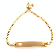 Gold plated Stainless Steel Heart Bar Bracelet adjustable