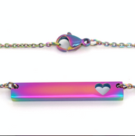Stainless Steel Rainbow Heart Bar Necklace
