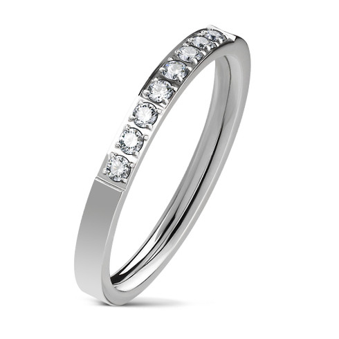 Stainless Steel 8 cz Lined band Ring