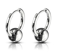 Pair OF CAPTIVE BALL 316L STAINLESS STEEL HINGE ACTION SEAMLESS HOOP EARRINGS 1 inches
