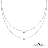 Stainless steel Double Layer Star Necklace with Cz