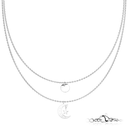 Stainless Steel Double Layer Moon and star necklace