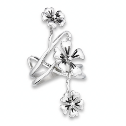 Long Stainless Steel 3 Flower Ring 1.7 inches