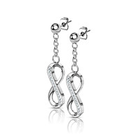 Surgical Steel Ball Stud Post Earrings with Dangling CZ Paved Infinity