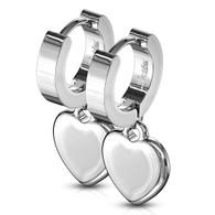 Stainless Steel Heart Dangle Huggie Earrings