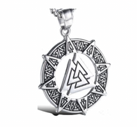 Stainless Steel Celtic Viking Valknut Pendant Norse Warrior Odin Symbol Amulet Pendant Necklace Includes a stainless steel 24 inch Rolo chain