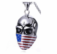Stainless Steel American Flag Skull Pendant Necklace  Includes a stainless steel 24 inch Rolo Chain  Pendant is 1.88 inches