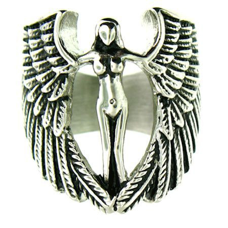Large stainless steel biker angel ring with intricate detailing.  Available Sizes: 6 - 16   Approx. Dimensions: 30mm x 30mm!!   Approx. Weight: 28 grams!!