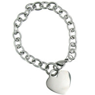 Stainless Steel   Blank Heart Bracelet     Available Sizes:7.5