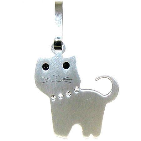 Description: Stainless Steel CZ Cat Pendant.   Stainless steel cat pendant with CZ accents.  Pendant Approx. Weight: 2.9 grams