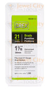 "Grex 21 Gauge (21Ga) Galvanized 1 3/16"" 30mm Brads Brad Nails H8/30-1.3"