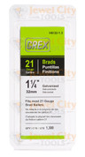 "Grex 21 Gauge (21Ga) Galvanized 1 1/4"" 32mm Brads Brad Nails H8/32-1.3"