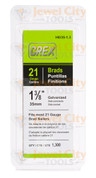 "Grex 21 Gauge (21Ga) Galvanized 1 3/8"" 35mm Brads Brad Nails H8/35-1.3"